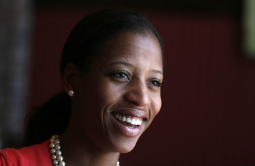 Mia Love, mayor of Saratoga Springs and Republican candidate in Utah's 4th Congressional District, talks in Salt Lake City