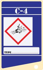 Label for explosives C-4