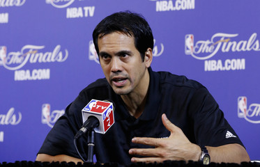 Miami Heat coach Erik Spoelstra speaks to the media during a team practice ahead of Game 2 of the NBA Finals basketball playoff against the San Antonio Spurs in Miami