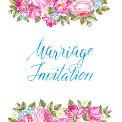 Marriage invitation card with rose sign and flower frame over white background. Watercolor illustration.