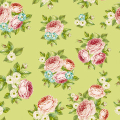 Flowers and leaves, watercolor illustration. Rose bouquet design. Seamless pattern with white background.