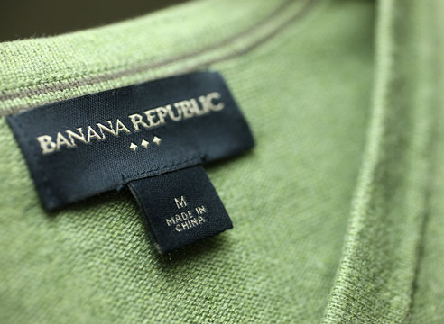 A made in China label is seen on a sweater in Chicago