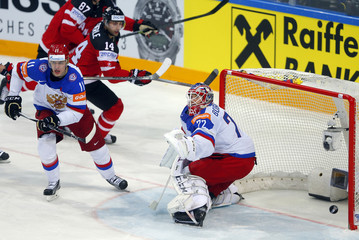 Russia's goaltender Bobrovski defends against Canada during their Ice Hockey World Championship final game at the O2 arena in Prague