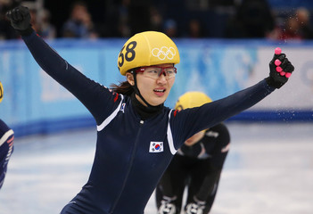 Winner South Korea's Park Seung-hi reacts after the women's 1,000 metres short track speed skating finals event at the Iceberg Skating Palace in the Sochi 2014 Winter Olympic Games