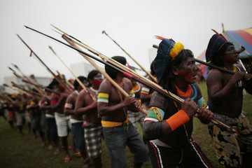 Indians from various parts of Brazil take part in a demonstration against proposed constitutional amendment PEC 215 in Brasilia