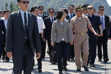 Taiwan's President Tsai Ing-wen arrives at Suao Naval Base in Yilan