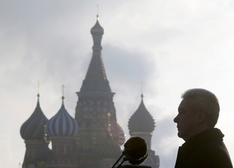 Mayor of Moscow Sergei Sobyanin delivers a speech a military parade at the Red Square with St. Basil's Cathedral seen in the background in central Moscow