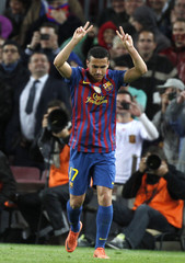 Barcelona's Pedro celebrates his goal against Getafe  during their Spanish first division soccer match  at Nou Camp stadium in Barcelona