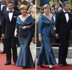 Combo photo of German Chancellor Merkel arriving for opening of Bayreuth Wagner opera festival in Bayreuth