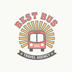 Bus trip and trvel tour badge logo