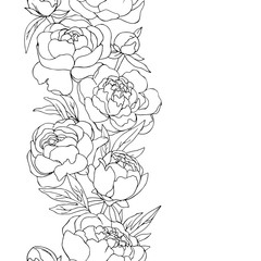 vector contour illustration of decorative peony flowers line frame