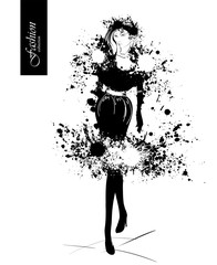 Fashion girl in sketch-style. Vector illustration with blots and splashes.