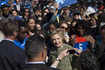 Democratic U.S. presidential candidate Hillary Clinton is photographed with supporters in Bedford-Stuyvesant, a neighborhood in the Brooklyn borough of New York