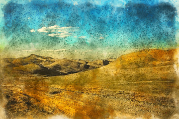 Orange desert and blue sky Landscape, Georgia. Painting watercolor., Georgia. Painting watercolor.