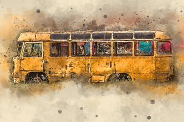 Yellow retro bus, vintage. Painting watercolor.
