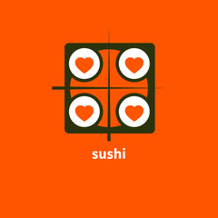 Sushi with four hearts