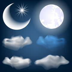 Set of cartoon night. Clouds, moon, month and stars. Isolated on a dark blue background.