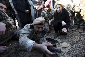 German Defence Minister Ursula von der Leyen visits the Zeravani Training Centre in Bnaslava near Arbil