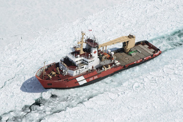 CCGS Samuel Risley is shown in this aerial photo near Whitefish Bay on Lake Superior northwest of Sault Ste. Marie