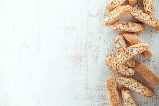 Cantucci on wooden background