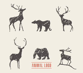 Drawn deers bears logotype vector illustration