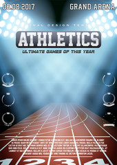 Sporting poster of athletics. Arena and spotlights with text and signs. Affiche and announcement. Editable Vector Illustration.