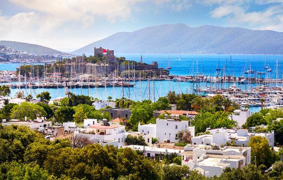 Bodrum castle and Aegean Sea