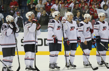 Players of the U.S. react after their quarter-final match against the Czech Republic at the Ice Hockey World Championships in Bratislava