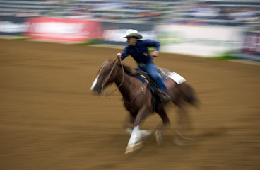 Cueto riding A Real Hillbilly competes during the team reining competition at the World Equestrian Games in Lexington