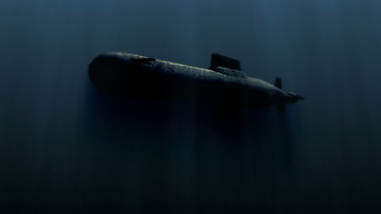 submarine underwater with bobm explosion 3d illustration