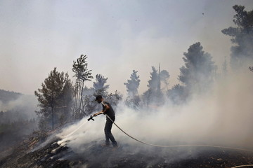 A worker for INPA works to contain a forest fire in the community of Even Sapir