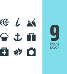 Vector Illustration Of 9 Map Icons. Editable Pack Of Masks, Photo Device, Anchor And Other Elements.