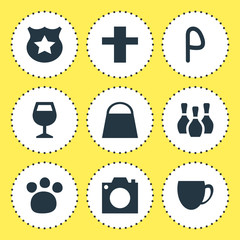 Vector Illustration Of 9 Location Icons. Editable Pack Of Photo Device, Handbag, Wineglass Elements.