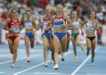 Alminova of Russia competes in women's 1500 metres heats at the European Athletics Championships in Barcelona