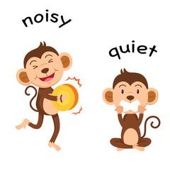 Opposite words noisy and quiet vector