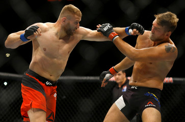 Gustafsson competes against Blachowicz during UFC Fight Night in Hamburg