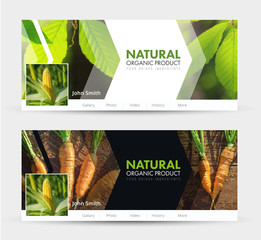 Universal Template banner for social networks for  natural products, harvest, agriculture