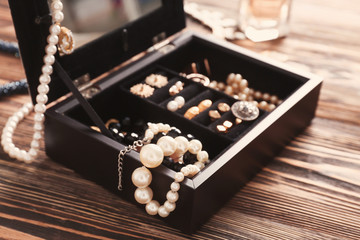 Jewelry accessories in box, closeup