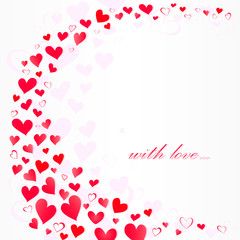 lot of pink hearts in wavy shape and with love You text on a white background, pink shadow,  square