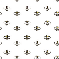 Vector seamless pattern with bees. Outline bee vector background. Can be used for print on clothes, honey package, banner, wrapping paper. EPS10.