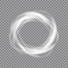 Circular lens flare transparent light effect. Abstract sparkling spark. Ellipse border. Shining shock. Rotational glow line. Power energy element. Glowing ring trace. Round shiny frame. Vector circle