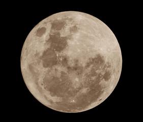 Super full moon on black background