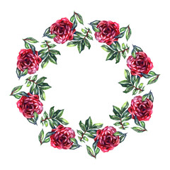 Rose flower wreath. Floral circle border. Watercolor on white background