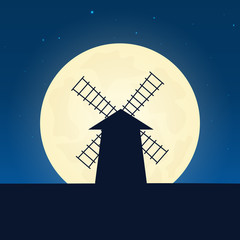 Mill silhouette. Banner with moon on the night background. Vector illustration.