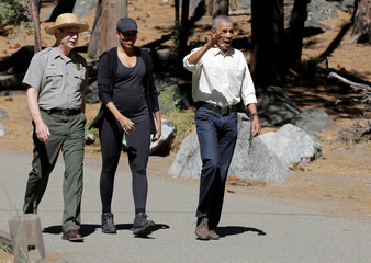 """U.S. President Barack Obama and U.S. First Lady Michelle Obama take part in """"Every Kid in a Park"""" with children at Yosemite National Park"""