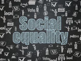 Political concept: Social Equality on School board background