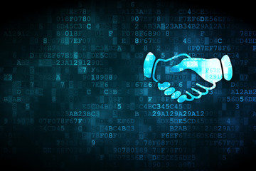 Political concept: Handshake on digital background