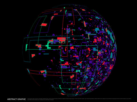 Abstract spherical graphic design, colorful pieces of composition.