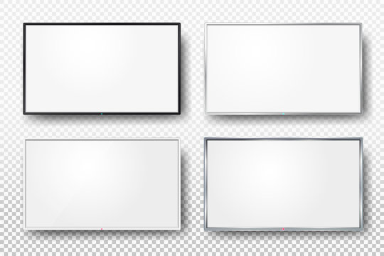 Set of realistic TV screen. Modern lcd wall panel, led type, isolated on white background. Blank television template. Graphic design element. Large computer monitor display mockup. Vector illustration