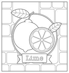 lineart fruit illustration for children coloring book